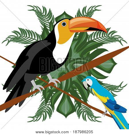 beautiful toucan and guacamaya over tropical palms, vector illustration