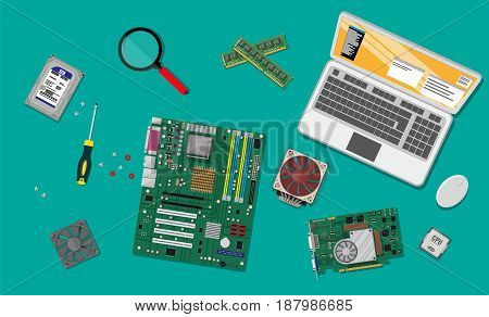 Motherboard, hard drive, cpu, fan, graphic card, memory and screwdriver. Mouse and laptop. Assembling PC. Personal computer hardware. Vector illustration in flat style