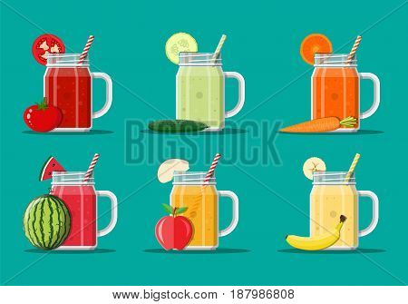 Jar with watermelon, apple, banana, tomato, cucumber, carrot smoothie with striped straw. Glass for cocktails with handle. Fresh vegetable and fruit juice set. Vector illustration in flat style