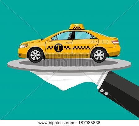 Driver hand with silver cloche serving yellow taxi cab car on plate. Taxi service concept. Vector illustration in flat style