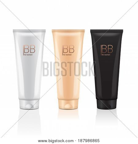 B.B. cream in different color of realistic tubes. Vector mockup of packages of makeup foundation for your design