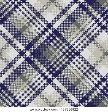 Blue gray check textile seamless pattern. Vector illustration.
