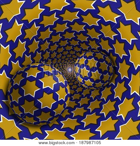 Optical illusion illustration. Two balls are moving in mottled hole. Yellow stars on blue pattern objects. Abstract fantasy in a surreal style.