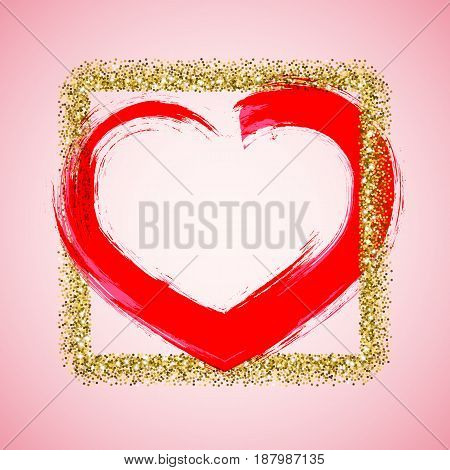 Valentines Day frame with ink brush painted heart and golden glitter