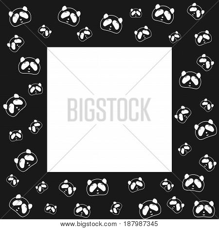 Cute Panda bear. Frame design, black and white background. Vector illustration. Panda head and face. Design for wallpaper and fabric, web page background, surface textures.