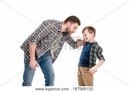 Father Threatening And Quarreling With Little Son, Family Problems Concept