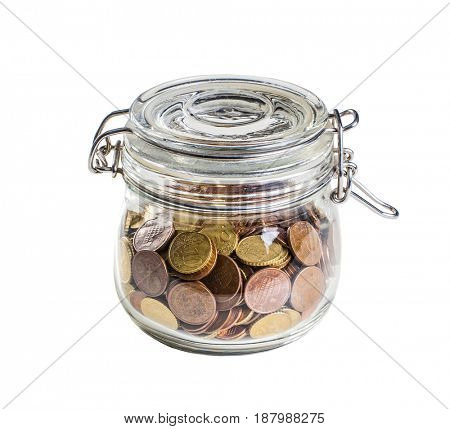 classic glass jar and euro coin