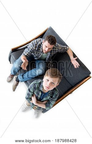 High Angle View Of Father And Son Quarreling, Family Problems Concept