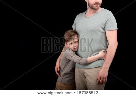 Cropped Shot Of Upset Little Son Hugging Father, Family Problems Concept