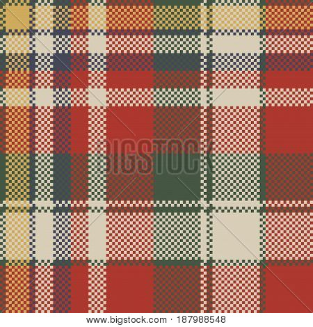 Canvas pixel plaid seamless fabric texture. Vector illustration.