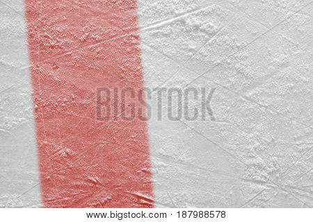 Red line on ice hockey ground. Fragment hockey concept