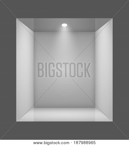 Glass empty show window of shop. Vector illustration.