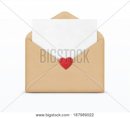 Vector illustration of love letter concept with open envelope and little red heart on it
