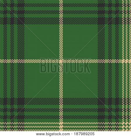 Green check plaid tartan seamless pattern. Vector illustration.