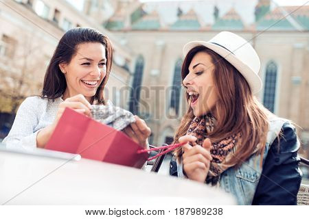 Happy friends shopping. Two beautiful young women enjoying shopping in the city.