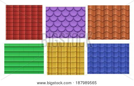 Vector seamless roof tiles. Roof slate pattern texture collection illustration