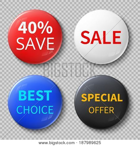 Glossy 3d sale circle buttons or badges with exclusive offer promotional text vector mockups. Consumerism and special offer, badge souvenir promotion illustration