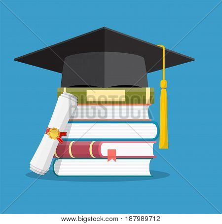 Graduation cap on books stacked, mortar board with pile of books and diploma, symbol of education, learning, knowledge, intelligence, vector illustration in flat style