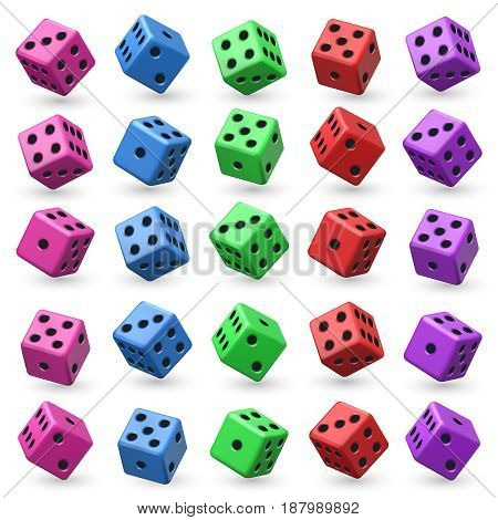 Playing dice vector set. 3d cube with numbers for board casino game. Set of colored dice for game illustration