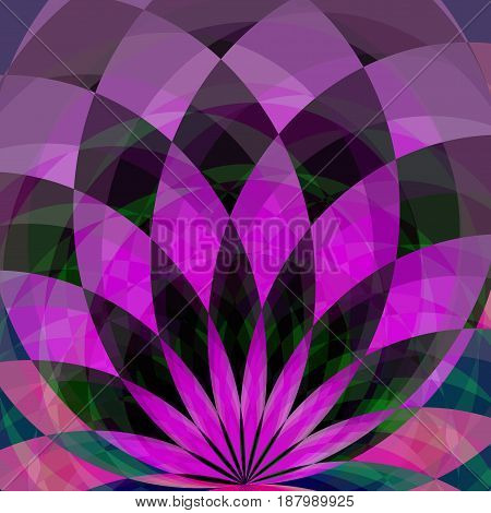 Background With Bright Purple And Black Geometric Flower. Flow Spectral Light. Geometric Shapes With