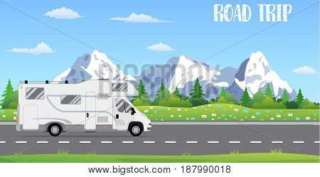 web banner on the theme of Road trip, Adventure, Trailering, Camping, outdoor recreation, adventures in nature, vacation. vector illustration in flat design.