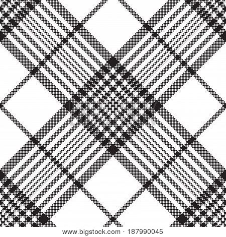 Pixels black and white check plaid seamless pattern. Vector illustration.