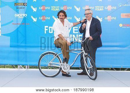 Giffoni Valle Piana Sa Italy - July 20 2013 : Piergiorgio Bellocchio and Marco Bellocchio at Giffoni Film Festival 2013 - on July 20 2013 in Giffoni Valle Piana Italy