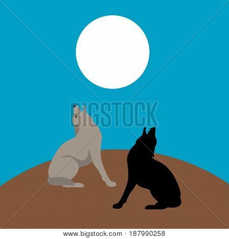 wolf  vector illustration style Flat silhouette black