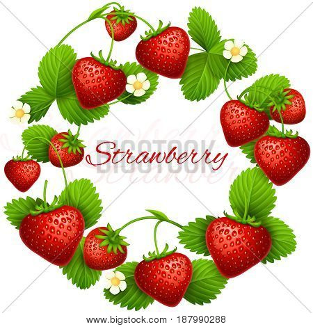 Juicy strawberry vector frame wreath. Health dessert eating strawberries background. Fruit red strawberry, illustration of wreath ripe fruits
