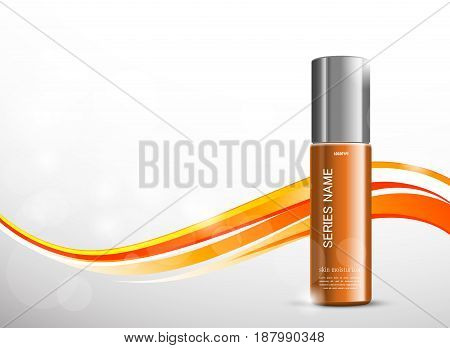 Skin moisturizer cosmetic ads template with orange realistic bottle on bright wavy curved dynamic lines background. Vector illustration