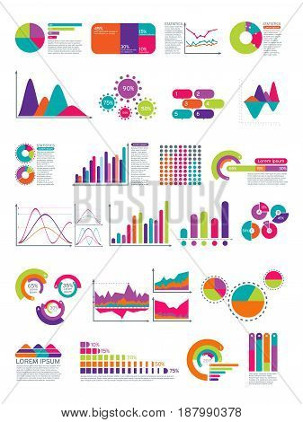 Elements of infographic with flowchart. Vector statistics diagrams website layout template. Color diagram and graph, icon of business chart illustration
