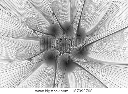 Monochrome abstract fractal on white background. Virtual Reality. Design element. Fantasy background.