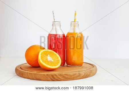 Mix juice. White background. The concept of beverages health food and vegetarian.