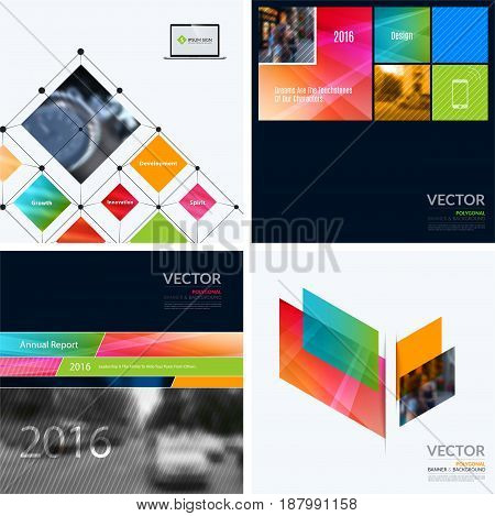 Business vector design elements for graphic layout. Modern abstract background template with colourful squares, triangles, diagonal geometric shapes for tech in clean minimal style.