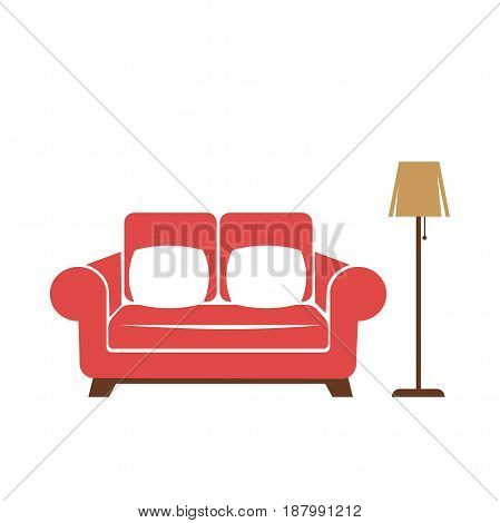 Vector illustration of the red couch with beige standard lamp isolated on white.
