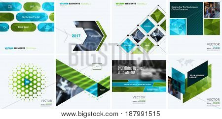 Business vector design elements for graphic layout. Modern abstract background template with green eco squares, triangles, diagonal geometric shapes for tech in clean minimal style.