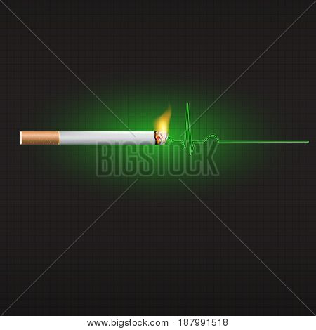 World no tobacco day, concept for stop and anti smoking a cigarette. Smoking is a major risk factor for heart disease. Vector illustration.