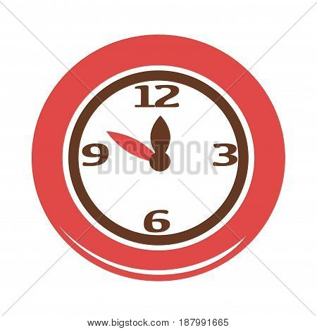 Vector illustration of a simple clock face with red frame isolated on white.