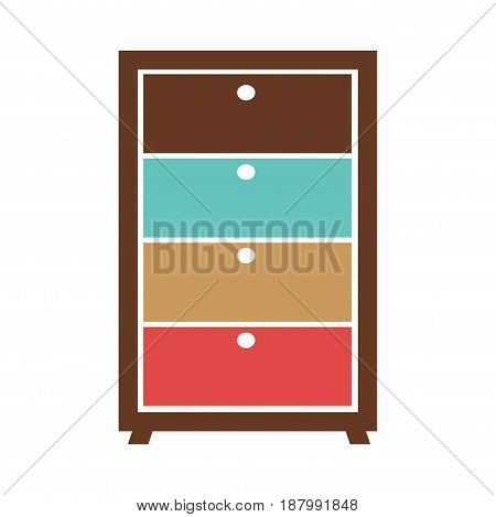 Small simple commode with bright different colored boxes isolated on white. Vector illustration.