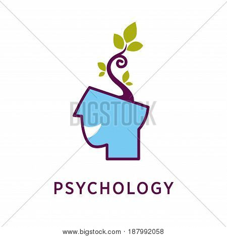 Vector illustration of head with growing petal and psychology word isolated on white.