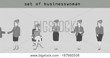 Set of little people businesswoman in various poses. Hand drawn cartoon vector illustration for business design and infographics.