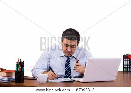 Manager at work in the office. Works with documents. Concentrated and attentive. Isolated on white.