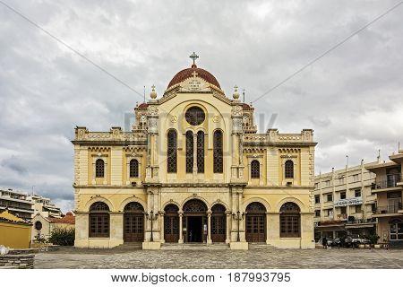 Greece Crete Heraklion - 10/02/2015: Cathedral of Saint Mina (Minas) - Agios Minas