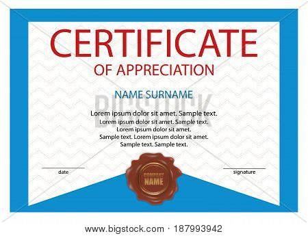 Certificate of appreciation diploma with wax seal. Blue template with watermark. Vector illustration.