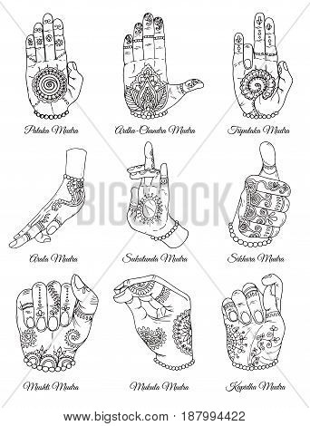 Hand drawn collection with sacral mudras on white. Vector mudras with mehndi henna patterns on hands, ethnic hindu ornament