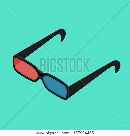 Cinema Glasses Isometric View Red and Blue Spectacles Lens for Visual Effect. Vector illustration