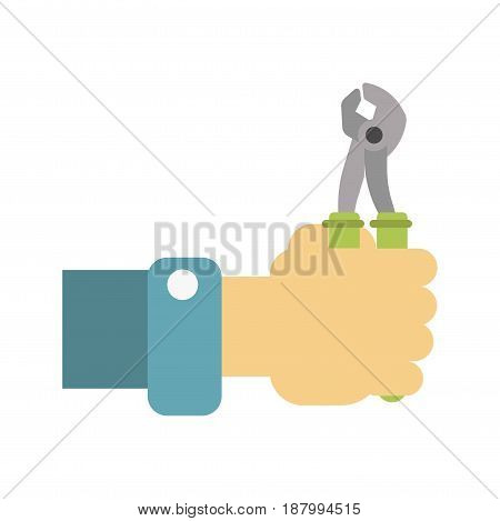 Vector illustration of a hand holding wrench for maintenance isolated on white.