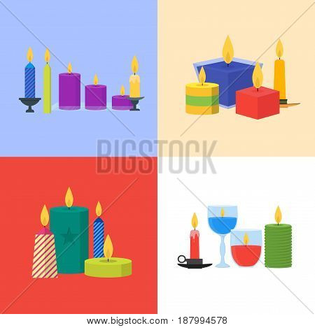 Cartoon Different Color Candles Banner Card Set for Celebration, Church, Romantic and Relax Modern Flat Design Style. Vector illustration