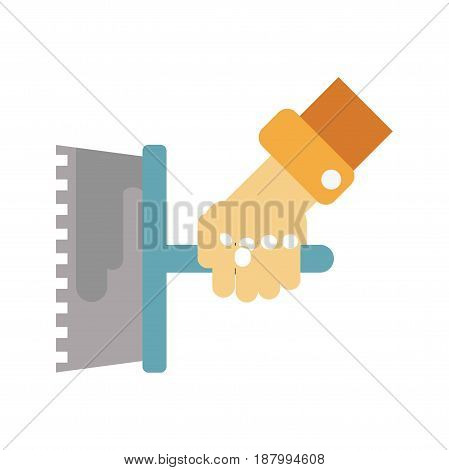 Vector illustration of a hand with float for stucco isolated on white.