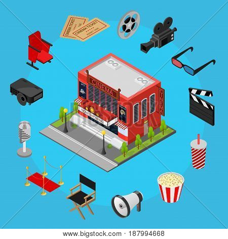 Cinema Concept witch Part Set Isometric View Modern Exterior Facade for Cinematography Movie Show Business. Vector illustration